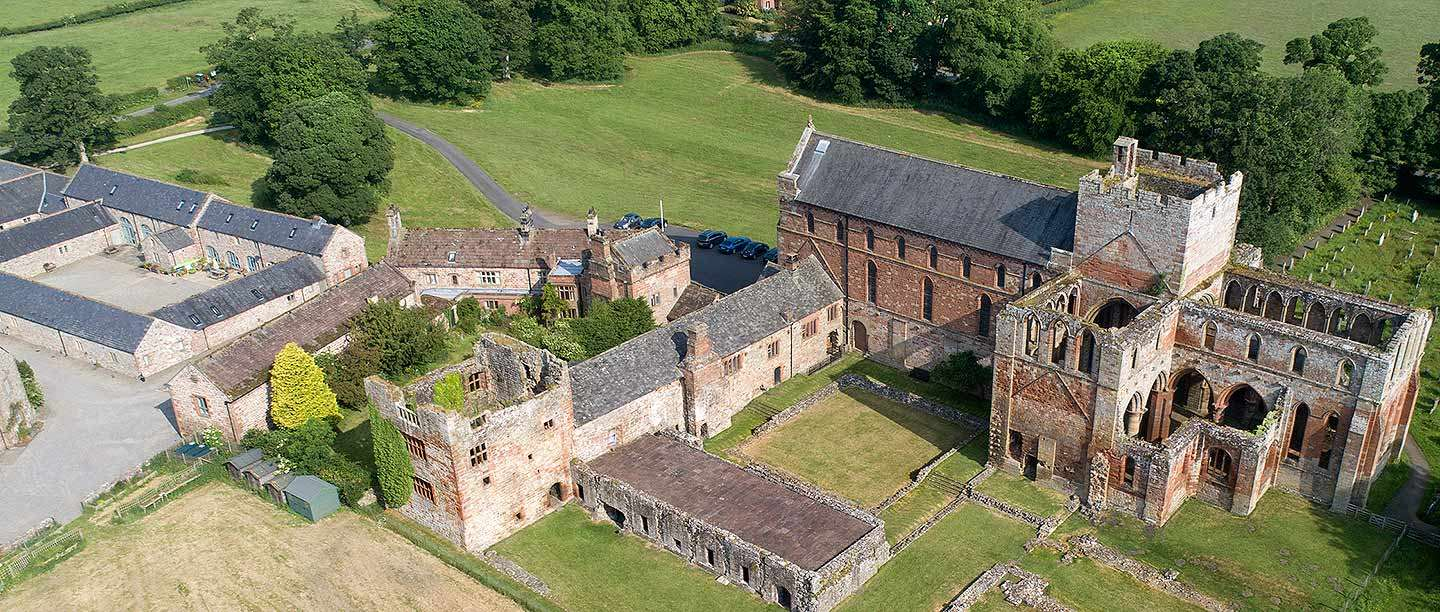 Aerial view of Lanercost Priory, Cumbria