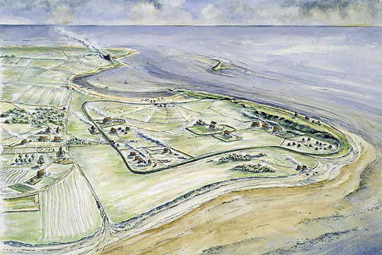An artist's impression of the 7th-century monastery at Lindisfarne Priory set on the sandy coast