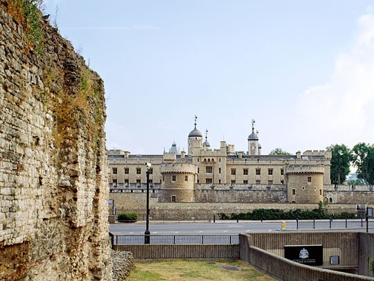 The Roman wall at Tower Hill road where it crosses the underpass to the Tower of London beyond