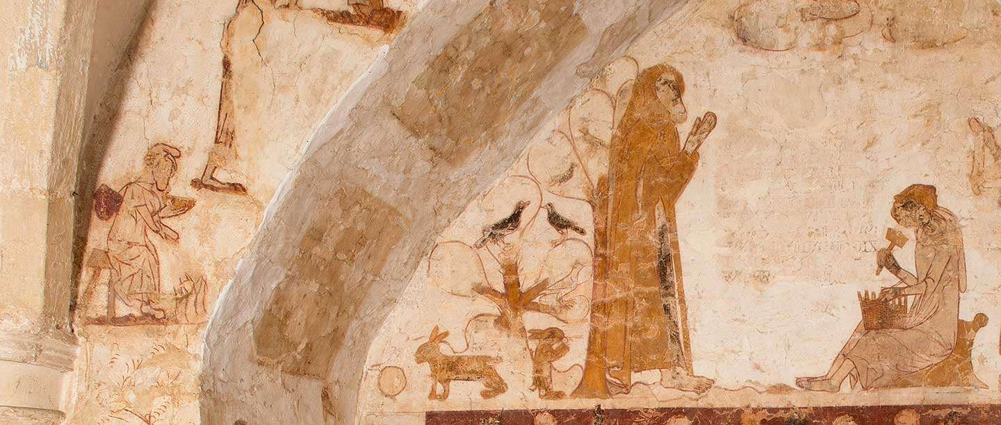 Detail of wall-painting on the west wall of Longthorpe Tower, a scene from the life of St Anthony