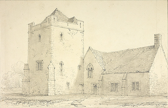 A drawing of about 1850 by the architect and antiquarian Edward Blore (1787–1879), showing Longthorpe tower and the gable end of the attached building much as they are now