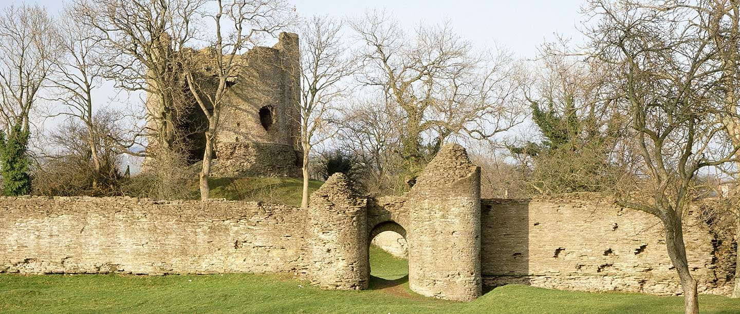 The keep and curtain wall of Longtown Castle