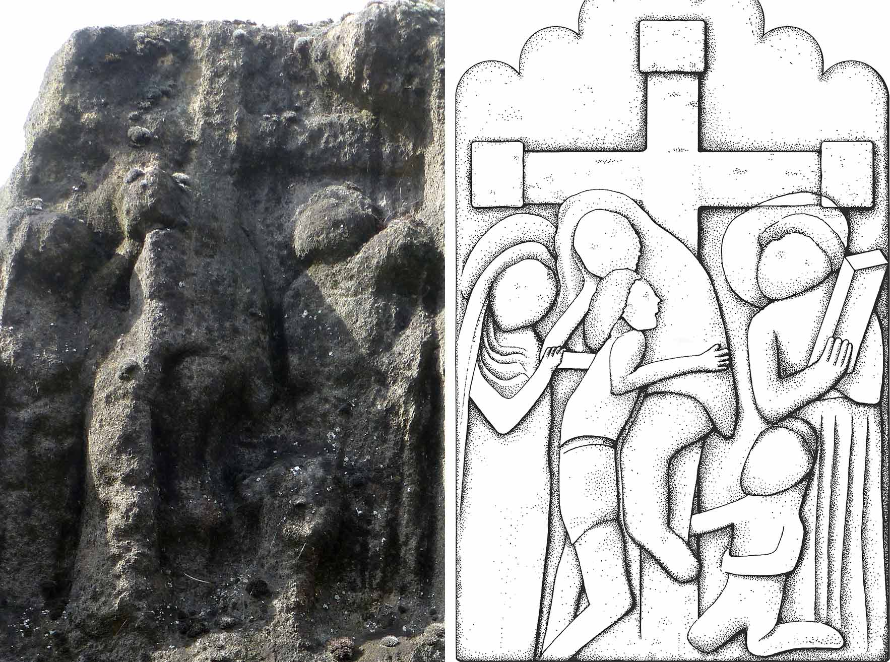 A reconstruction (right) of the depiction of the Descent from the Cross on the east face (left)
