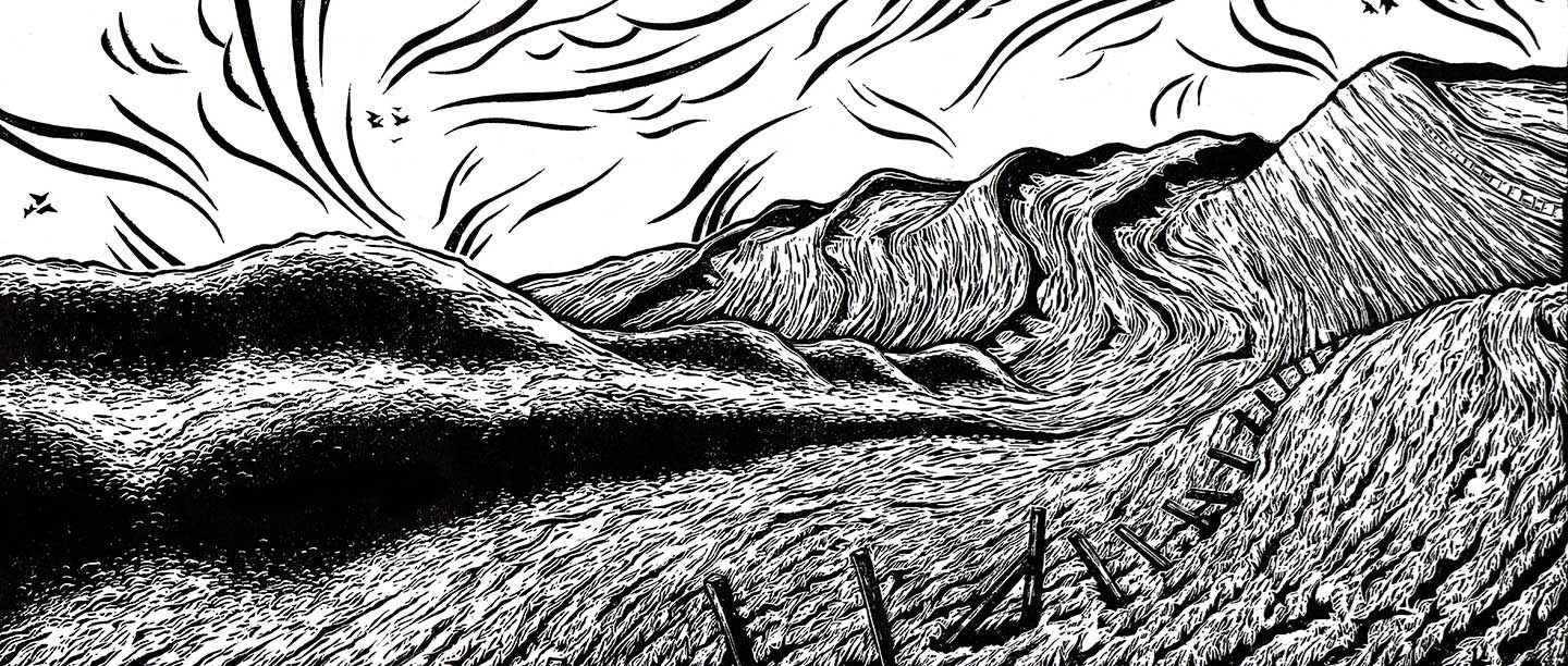 Black and white lino cut illustration representing the folding curves of Maiden Castle's ramparts