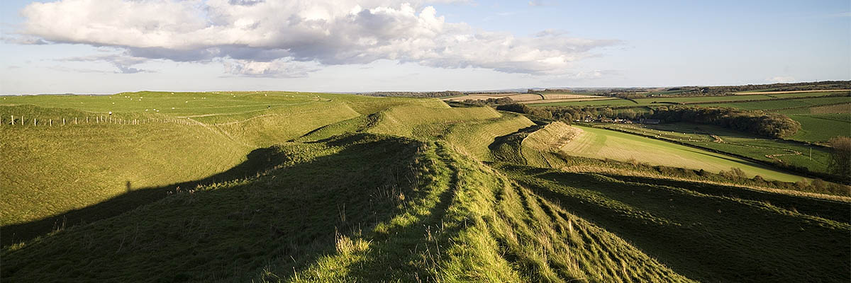 A view along the ramparts of Maiden Castle