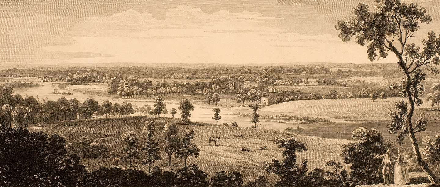 A View from the Summer House in Richmond Park up the River Thames, engraving by Peter Paul Benazech after John Baptiste Claude Chatelain, c.1755 (© Historic England)