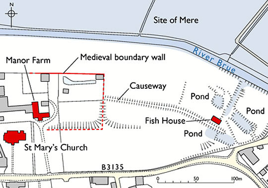 Plan map showing the position of the Fish House relative to St Mary's Church and Manor Farm