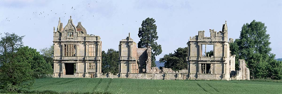 The late Elizabethan south range at Moreton Corbet Castle, seen from the south