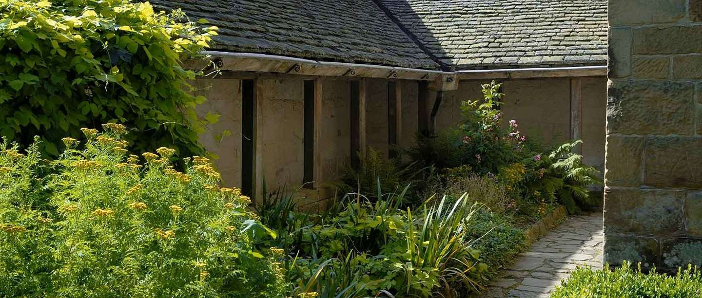 The garden of the reconstructed monk's cell at Mount Grace Priory