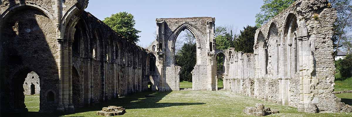 The church at Netley Abbey, looking west down the nave