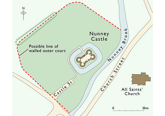 A plan of the castle showing the possible extent of its walled outer court