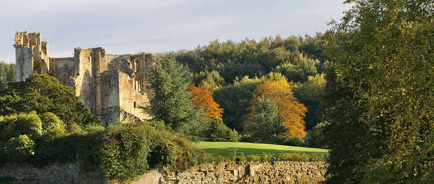 View of Old Wardour Castle in autumn