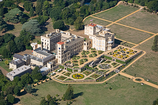 Aerial view of Osborne house and grounds looking West