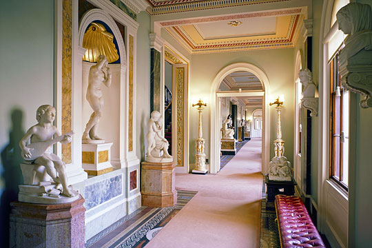 The Grand corridor at Osborne, where many pieces of outstanding sculpture collections are displayed