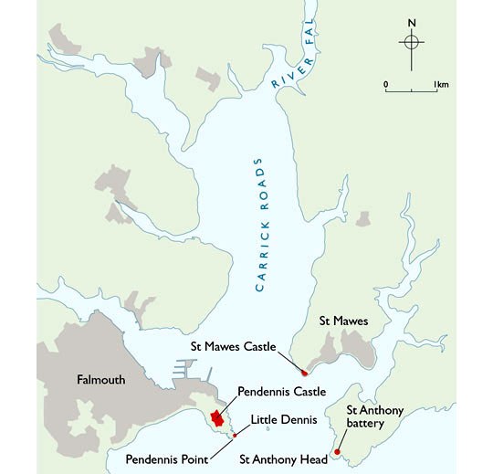 Map of the area around Pendennis Castle headland