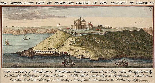 Tinted engraving of Pendennis Castle by Nathaniel and Samuel Buck