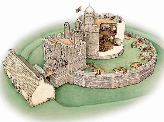 Reconstruction drawing of Henry VIII's gun tower at Pendennis Castle