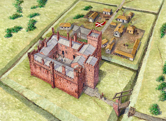 Reconstruction drawing of the castle and associated buildings