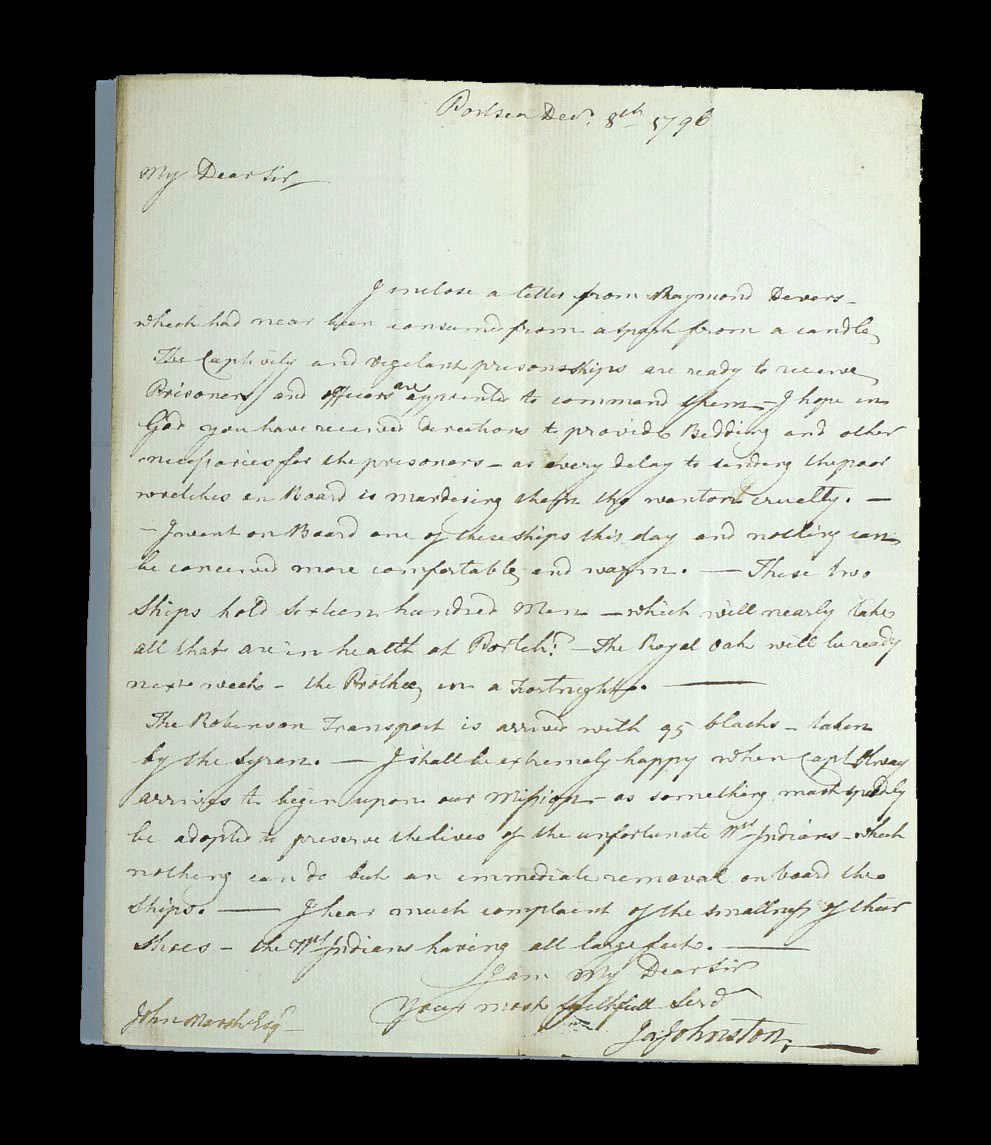 A letter written by Dr James Johnston on 8 December 1796