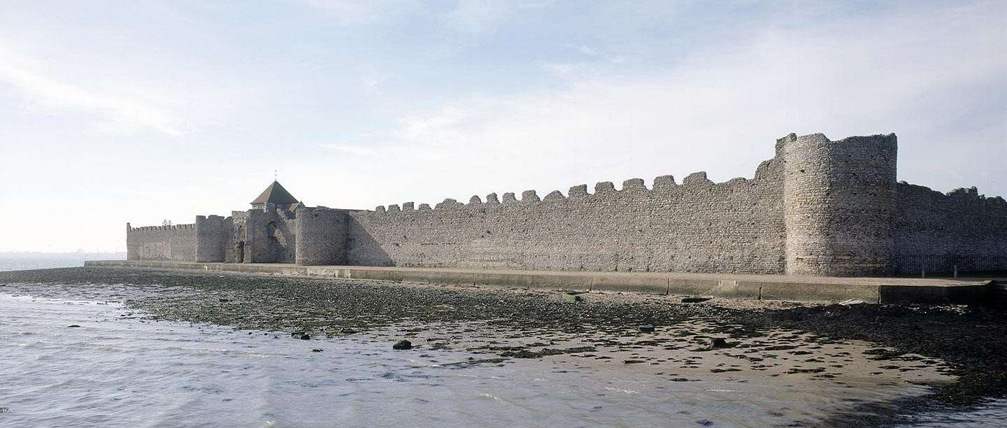 The Roman fort walls at Portchester, seen from Portsmouth harbour