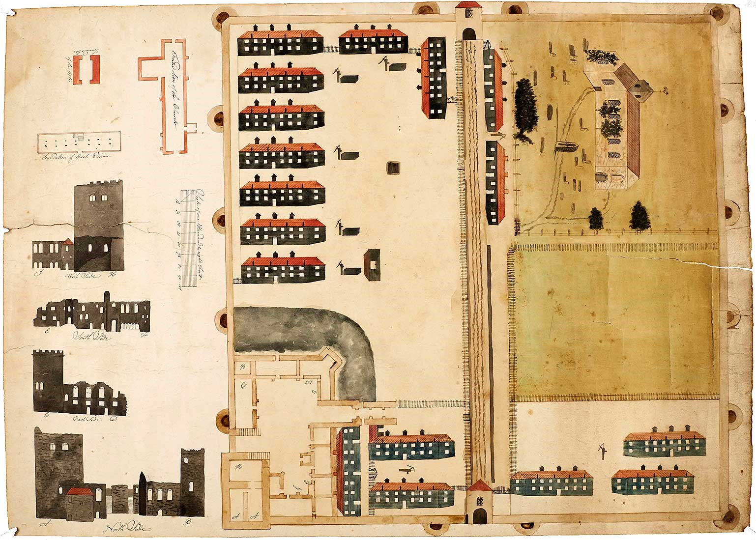An anonymous plan of Portchester Castle, made about 1800