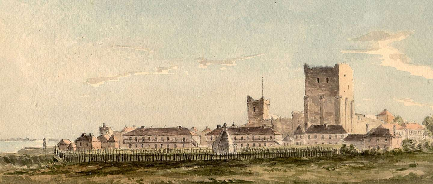 Portchester Castle seen from the east, painted by Captain Durrant in September 1813  © Hampshire Cultural Trust