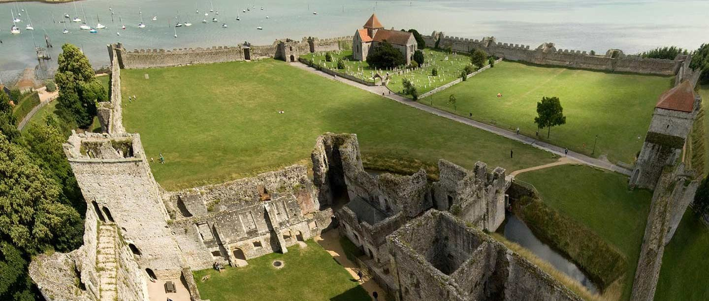 The view across Portchester Castle from the keep