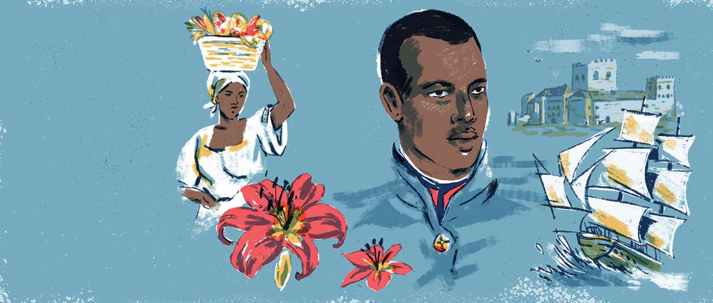 Illustration showing a black officer in the French army, a ship and a woman carrying goods in a basket