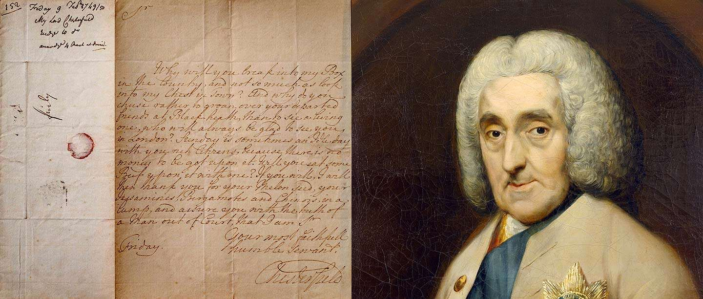 Painting of the 4th Earl of Chesterfield on the right, and examples of his letters on the left