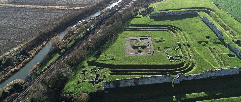 Aerial view of Richborough Roman Fort