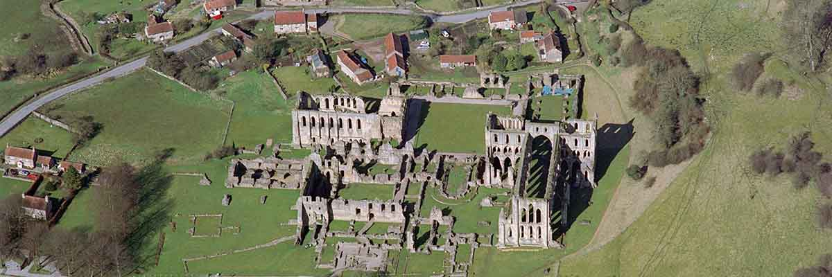 Aerial view of Rievaulx Abbey, looking west