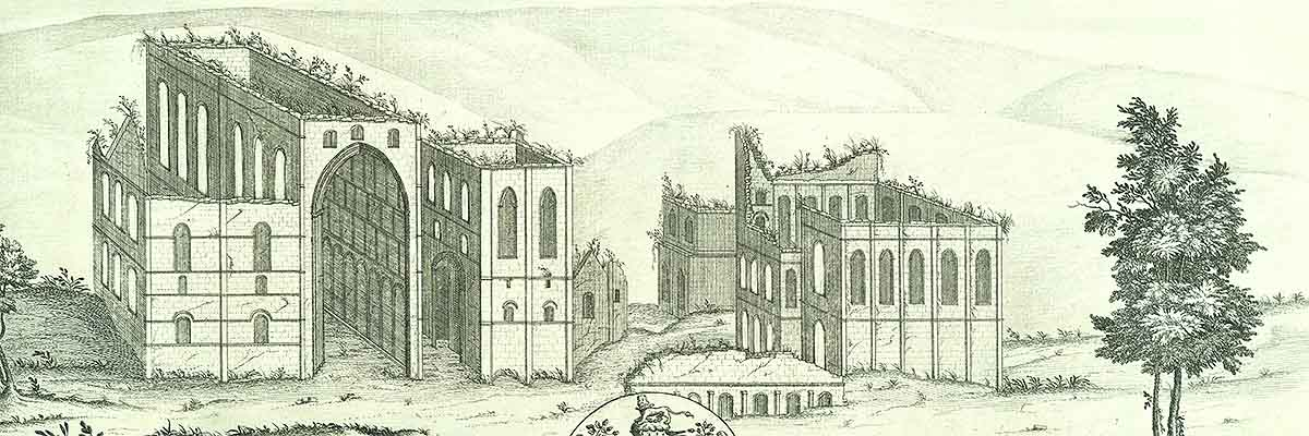 Engraving of the ruins of Rievaulx Abbey from the west in 1721, by Samuel and Nathaniel Buck