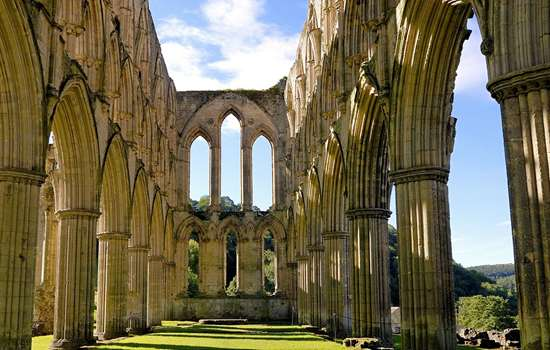 View looking up at Rievaulx Abbey ruins