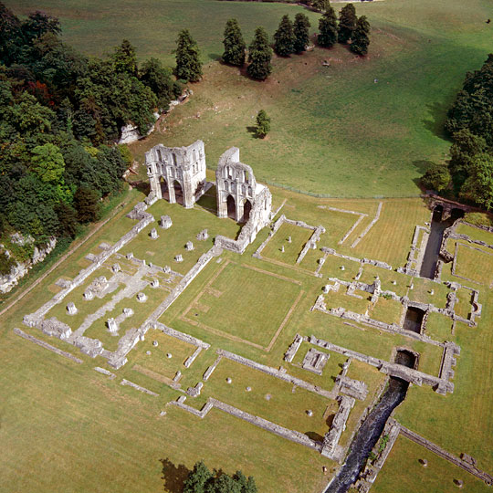 Aerial view of Roche Abbey showing the clear plan