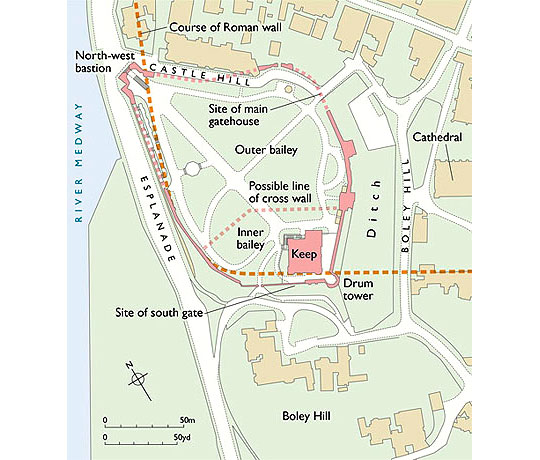 Map showing the location of Rochester Castle