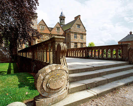 The 19th-century balustraded bridge leading to the house at Rufford Abbey