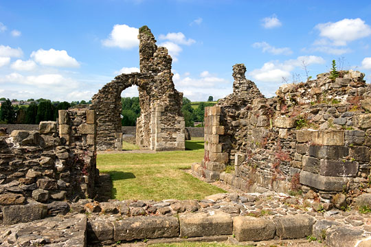 View across the abbey ruins