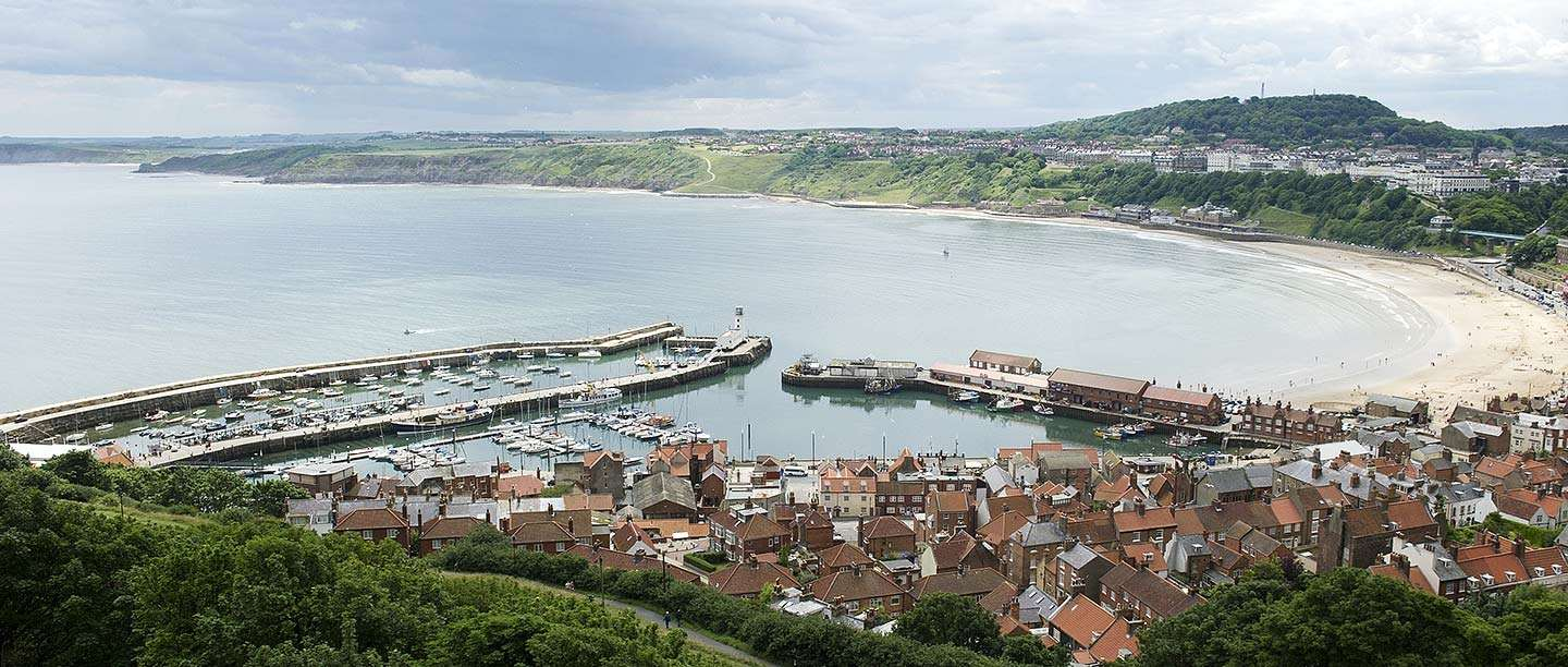 A view of Scarborough bay and harbour seen from Scarborough Castle