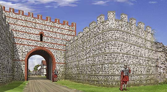 A reconstruction of the south gate at Silchester. The wall today is about 4.5 metres high, but it once stood to perhaps 7.8 metres with a wall-walk and parapet