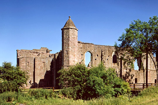 View of Spofforth Castle with the intact corner turret with conical roof
