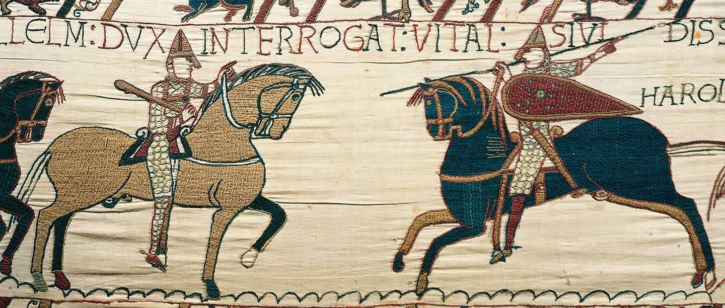 Scene from the Bayeux Tapestry showing Vital, a knight who had direct links to St Augustine's Abbey