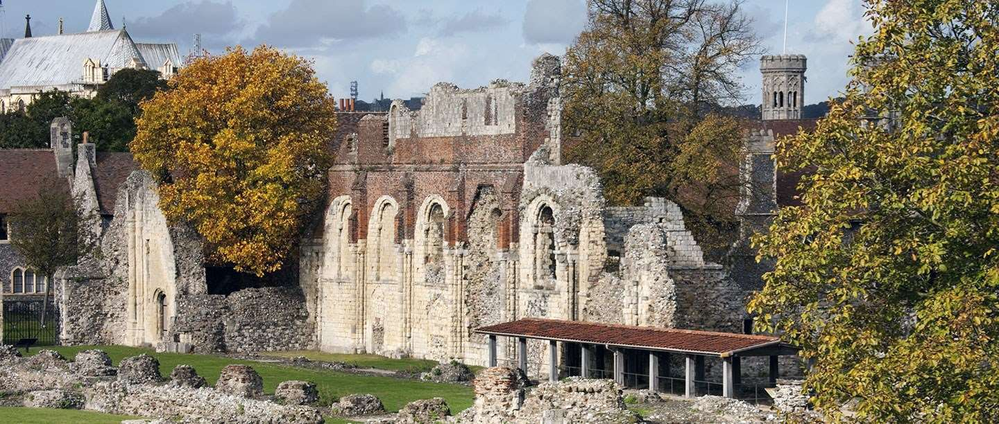 Autumnal view of ruins of St Augustine's Abbey