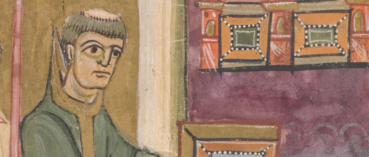 St Augustine, detail from an 11th-century manuscript