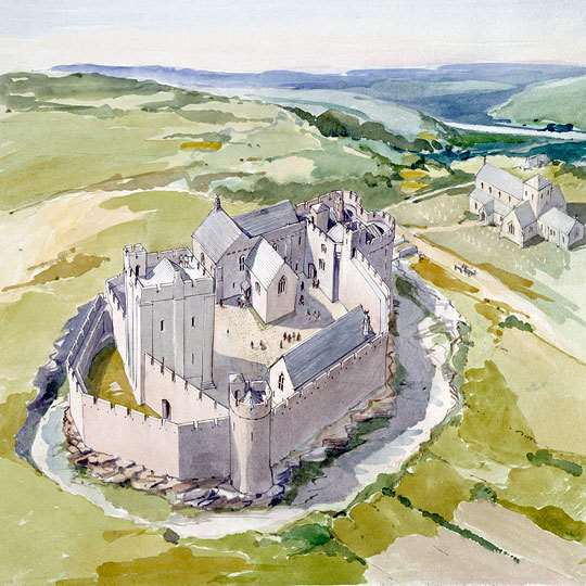 A watercolour reconstruction bird's eye view of the castle