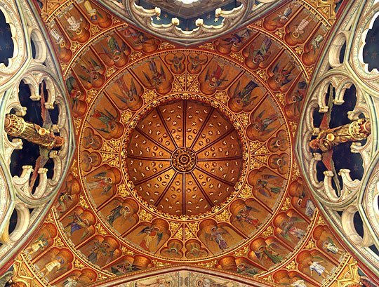 The painted and gilded dome over the sanctuary, St Marys, Studley Royal