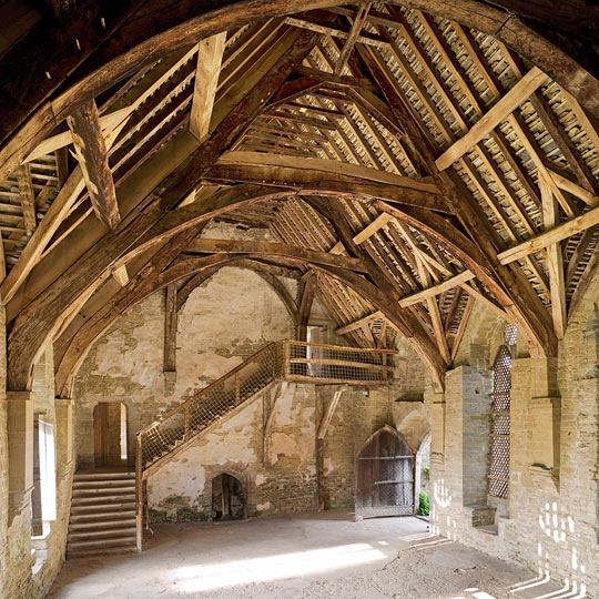 Stokesay great hall with exposed roof timbers at Stokesay Castle