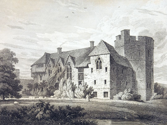 Britton engraving of Stokesay Castle
