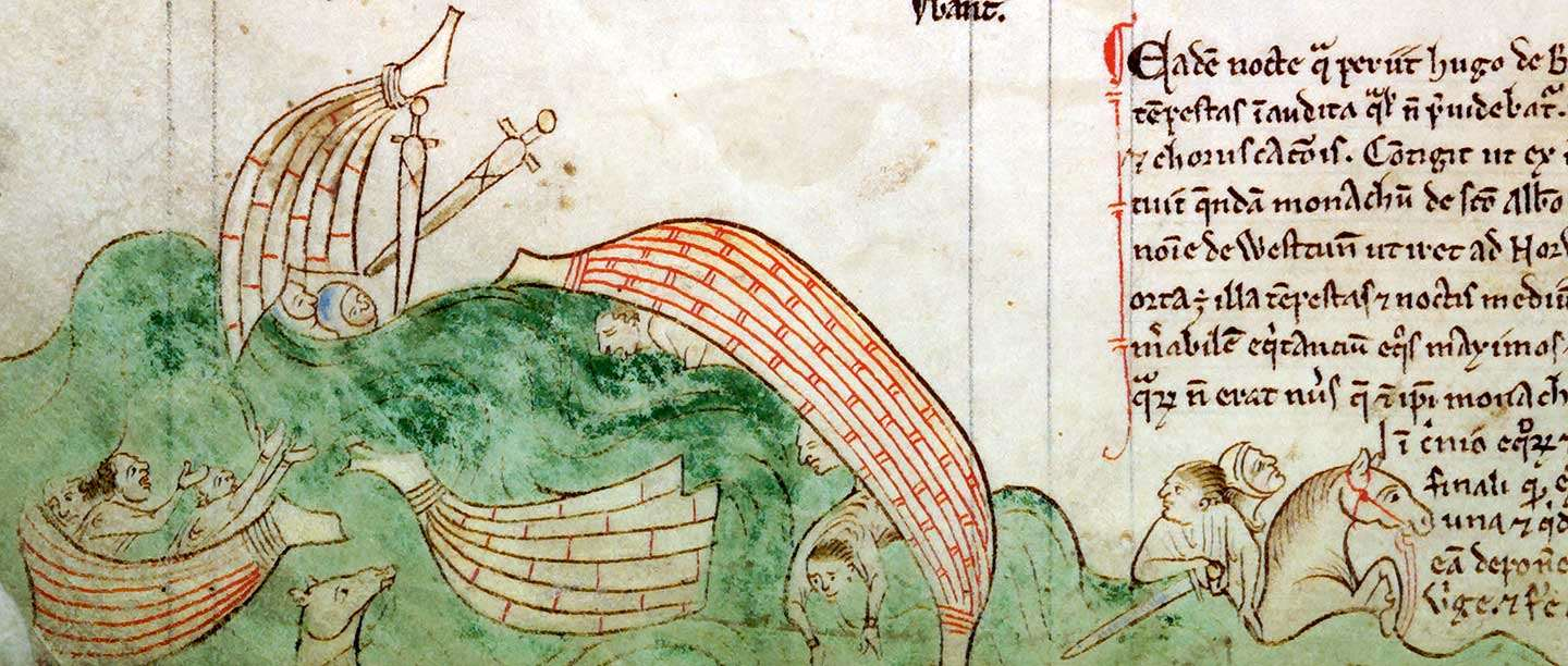 Sinking ships, from the 'Chronica Maiora', 13th century © The Master and Fellows of Corpus Christi College, Cambridge