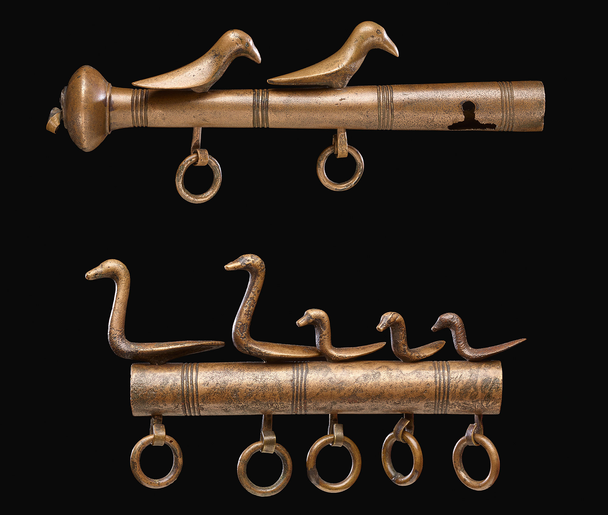 The birds on the Dunaverney flesh-hook, which dates from about 1100–800 BC.  They are some of the earliest objects known to have been made using a lost-wax process, when molten metal is poured into a wax mould