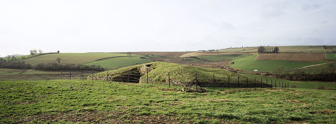 Stoney Littleton Long Barrow sits ina rolling hill landscape